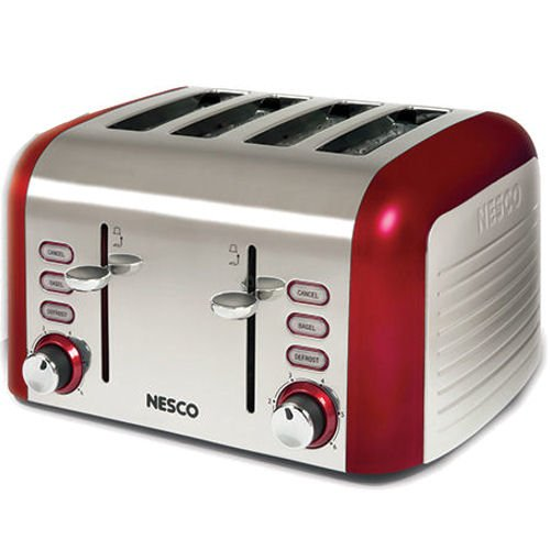 nesco t1600 12 4 slice stainless steel toaster with red trim everything. Black Bedroom Furniture Sets. Home Design Ideas